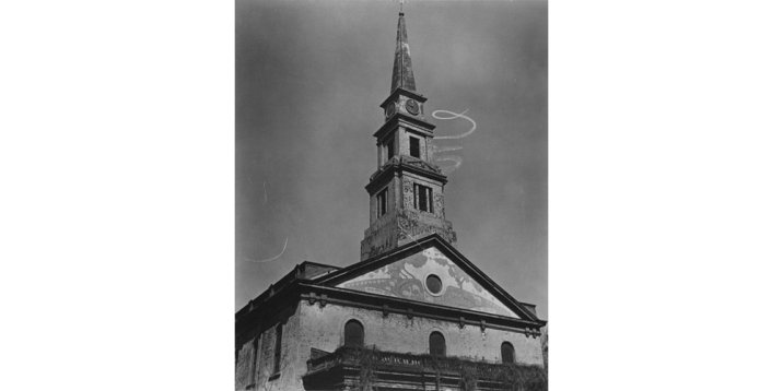 1937 - St. Mark's Church, with Skywriting Spiral, East 10th Street at 2nd Avenue